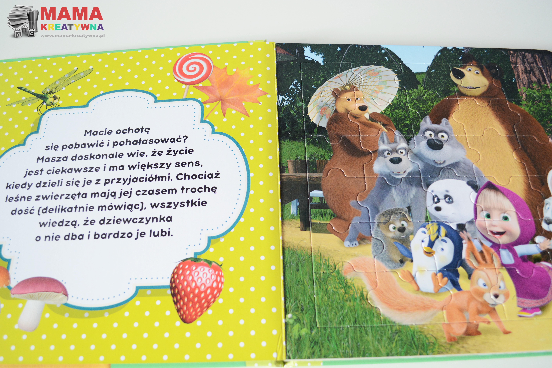 Masza i niedźwiedź puzzle i książka